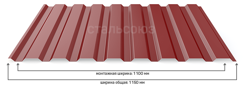 Профлист нс 20 монтажная ширина 1100 мм